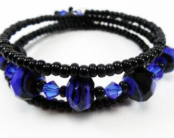 Black/ Blue Beaded Wrap Bracelet from Memory Wire  - Jewelry Gift Idea for Girls, Teens or Women