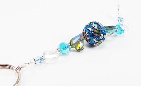 Blue beaded keychain unique decorative key fob by for Unique decorative accessories