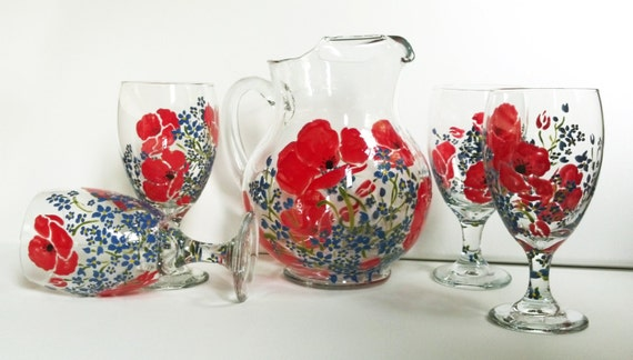 Drinking glasses and pitcher set hand painted poppies for Hand painted drinking glasses