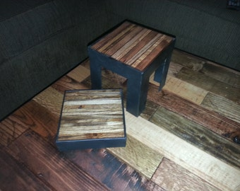 Angle iron and reclaimed wood candle holder