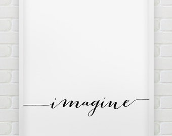 printable 'Imagine' wall art // inspirational instant download print // printable typographic poster // minimalistic print