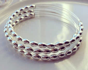Silver Beaded Bangle  // Beaded Bracelet // Bangle // Silver // Shiny Silver