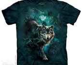 men's or woman's t-shirt, wolf, night wolf collage, multicolored,stonewashed, size large, brand new 100% preshrunk cotton