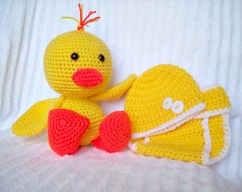 Baby Shower Gift Set, Baby Diaper Cover Set and Crochet Duck Stuffed Animal in Yellow and Orange, Duck Plush