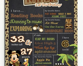 SALE Mickey Mouse Safari Animal Kingdom chalkboard/ First Birthday/ Minnie Safari Birthday Chalkboard/Printables