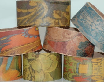 """Wonderfully colored Bohemian leather bracelets-1.5"""" x 8"""" Genuine Leather Cuff-7 pack"""