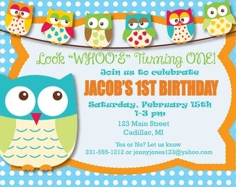 Boy's First Birthday Invitation - Look Whoo's Turning One First Birthday Party Printable Invite