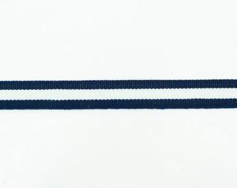 55yds Navy Blue & White Striped Grosgrain Ribbon - 12mm
