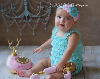 Baby lace romper , 2 pcs AQUA pink petti romper & headband, newborn photo props,Girl Baby petti rompers , flower baby girl