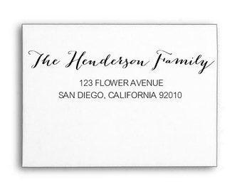 Custom Family Address Stamp, Calligraphy Stamp, Rubber Stamp, Wood handle or Self Inking