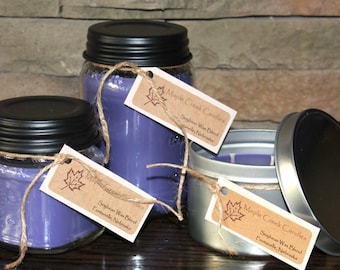 LILAC Maple Creek Candles ~ Sweet Aroma of Lilac ~ Soy Wax Blend, 3 sizes, Fun Rustic Lid