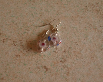Hexagon painted earrings