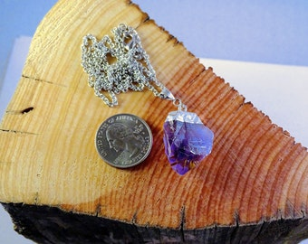 Raw Amethyst Silver Dipped Pendant Necklace