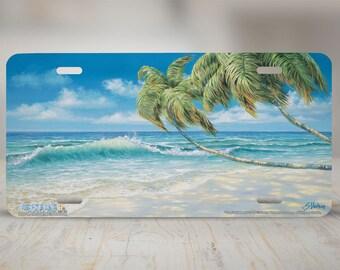 """3410-""""Tropical Beach"""" Beach front license plate, car license plate, license plate, cute license plate, front car tag, auto tags, cute car"""