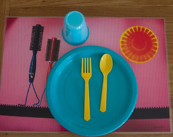 Girl  placemat, Pink Placemat, Kids placemat, Laminated placemat - Brush Love