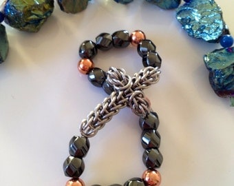 Chainmaille Cross Bracelet