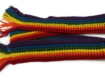 Long Rainbow Scarf with rainbow fringe
