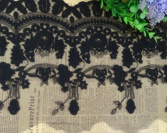 Black Lace Trim Cotton Embroidery Tulle Lace Floral Lace 9.44 Inches Wide 1 yard E9002