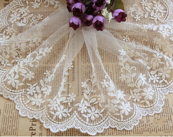 White Lace,Embroidery Gesang Lace,  Floral Lace,Tulle Gauze Lace Trims 5.11 Inches Wide 2 yards E8013