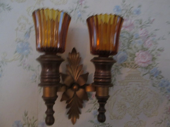 Double vintage wall sconce wood and metal with by Shabbyeclectics