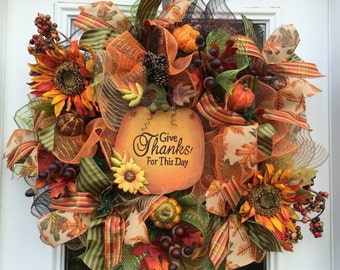 Deluxe Fall mesh wreath, Fall deco mesh wreath,Autumn deco mesh wreath, Rustic fall wreath,pumpkin wreath. Fall Front door wreath, Thanksgiv