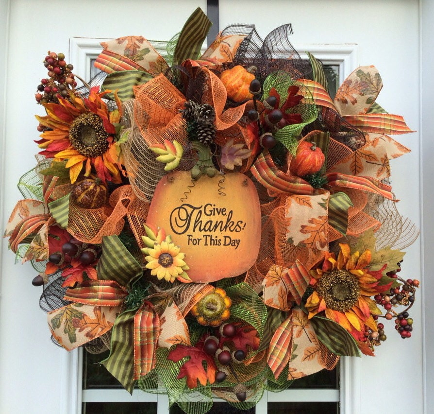 Deluxe fall mesh wreath fall deco mesh wreathautumn deco Fall autumn door wreaths