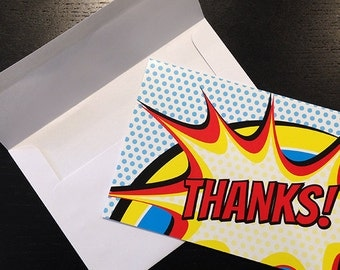 12 pack Comic Book Pop Art Style Thank You Card