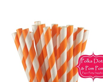 25 ORANGE Striped Paper Drinking Straws / Birthday Party Decoration Ideas and Supplies / Wedding / Dory / Nemo / Baby Shower / Halloween