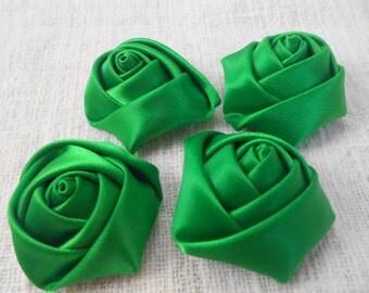 "Green Mini Rolled Rose, 1.5"" Satin Rosette, Wholesale Flower, Headband Rose Buds, 4cm Floral Embellishment,"