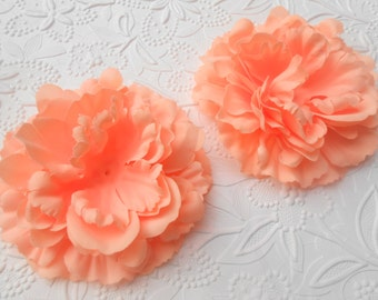 "Peach 4.3"" Flat Back Silk Peony Flower Head, DIY craft, Hairbow Supply, Children Accessories, Wholesale"