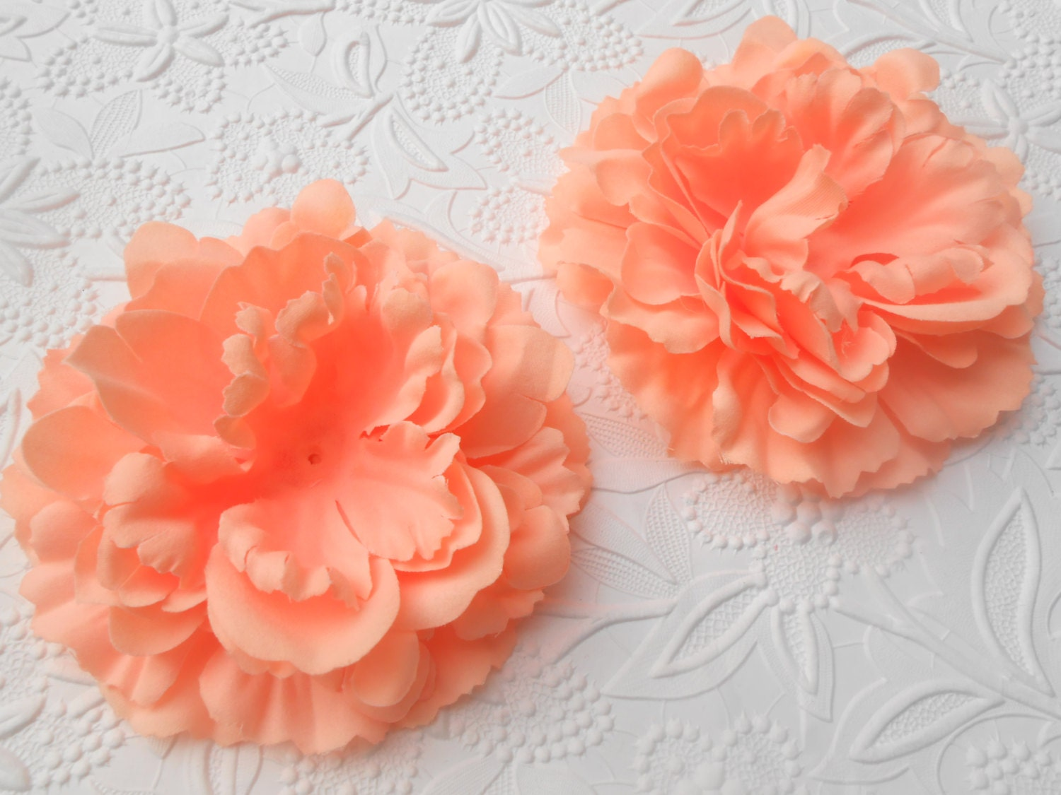 peach 4 3 flat back silk peony flower head diy craft