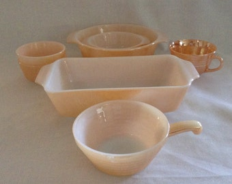 1940's Vintage Anchor Hocking, Fire King, Peach Lustre Ware, 6 Pieces