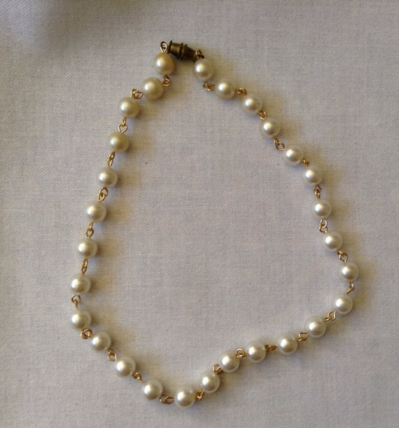 Vintage Pearl Choker Necklace: Vintage Costume Pearl Necklace Choker 14 By