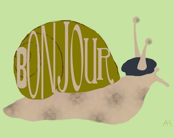 """French Snail in Beret Bonjour, Hello Greeting Card - 5"""" x 7"""" Printable Card"""