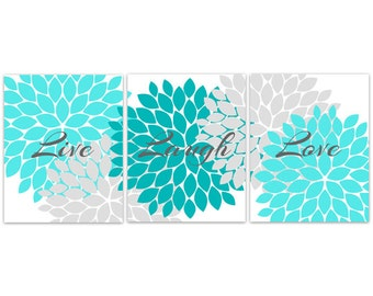 Home Decor Art, Live Laugh Love CANVAS Or PRINTS, Aqua Wall Art, Flower Part 70