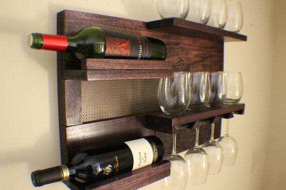 stunning dark cherry stained wall mounted wine and liquor rack. Black Bedroom Furniture Sets. Home Design Ideas