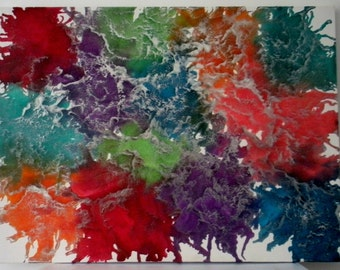 Melted crayon art Fireworks twenty