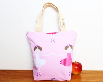 Insulated Lunch Bag / lunch Tote, Australian made, zipped, Waterproof lining – Medium or Large, Ballerina pink