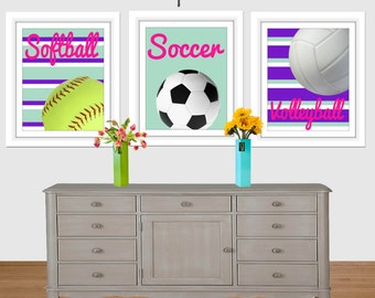 Girl Sports Printable Art, Softball Print, Soccer Print, Volleyball Print, Girls Room Decor, Nursery Art, Sports, Girl Art Print, Printable