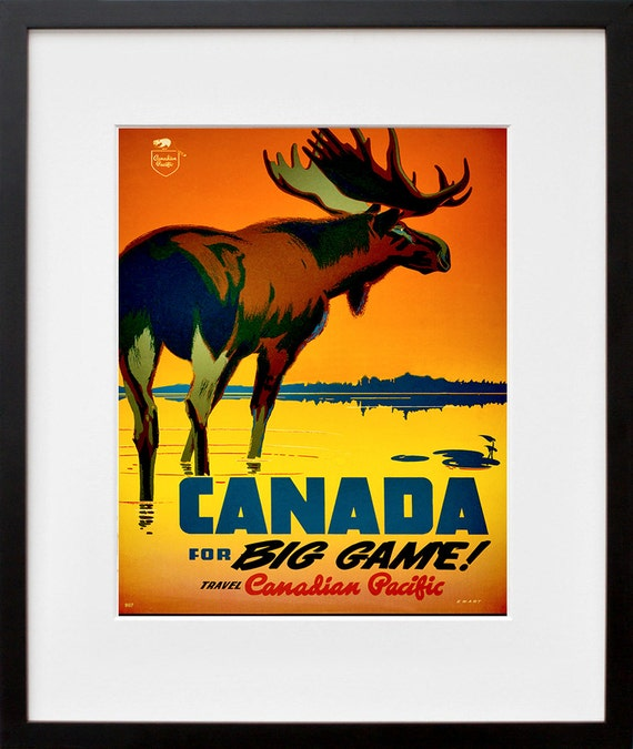 Canada art print hunting travel poster canadian home decor for Home decor canada