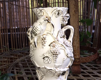 Hollywood Regency Vase, Bird on Grapevine White and Gold Vase Porcelain Bird Japan, Kitschy Decor