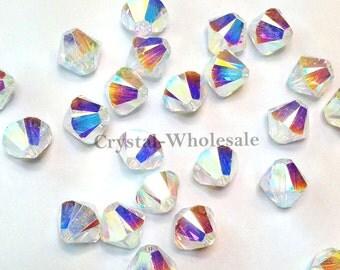 Crystal AB 2x (001 AB2) Swarovski Elements 5328 / 5301 3mm Xilion Bicone Beads ** FREE Shipping