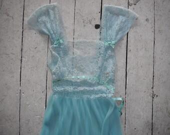 Pale blue 50s lace and ribbon slip dress