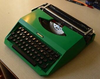 Typewriter - Vintage Dutch  Green Typewriter in Yellow Case - Working Perfectly