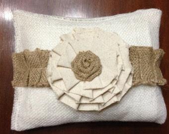 burlap wedding pillow with flower