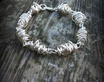 Silver Twist Bracelet.  Wire Bracelet