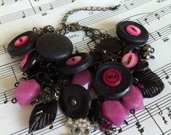 Vintage Button, Raspberry Jade and Skull Charm Bracelet - Reduced Price