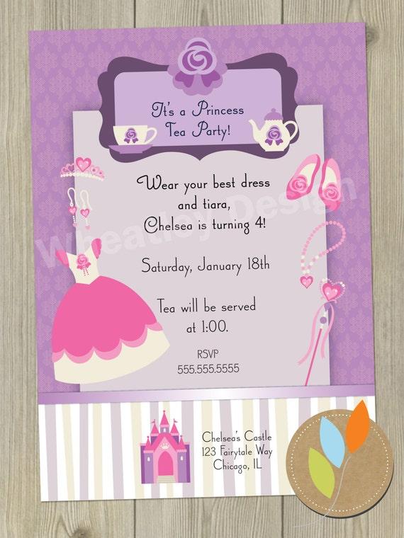 items similar to birthday invitation card princess dress up tea party digital printable on etsy. Black Bedroom Furniture Sets. Home Design Ideas