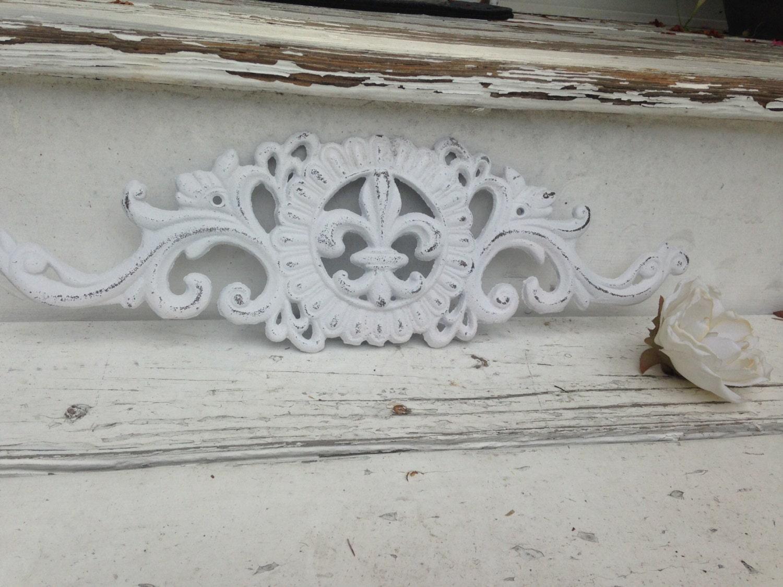 White Tin Wall Decor : Wall decor white metal fleur de lis