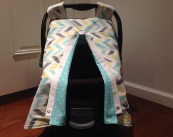 infant car seat cover baby canopy gender neutral aqua turquoise yellow gray herringbone. Black Bedroom Furniture Sets. Home Design Ideas